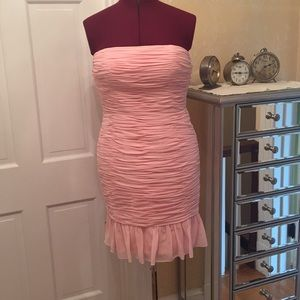 Pink strapless dress by Donna Morgan